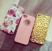 phone cover,iphone case,gold,floral,flowers,pink,floral phone case,iphone cover,accessories