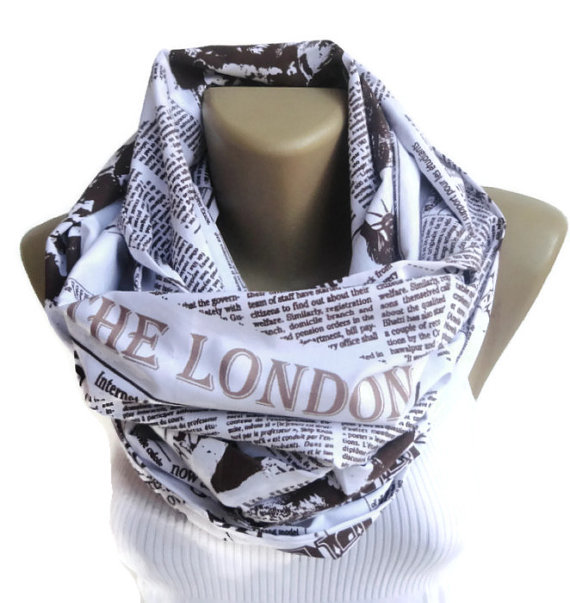 book scarf London scarf /newspaper scarf / by senoAccessory