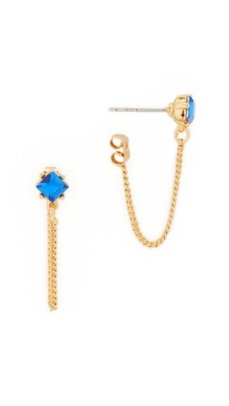 earrings stud earrings gold blue jewels