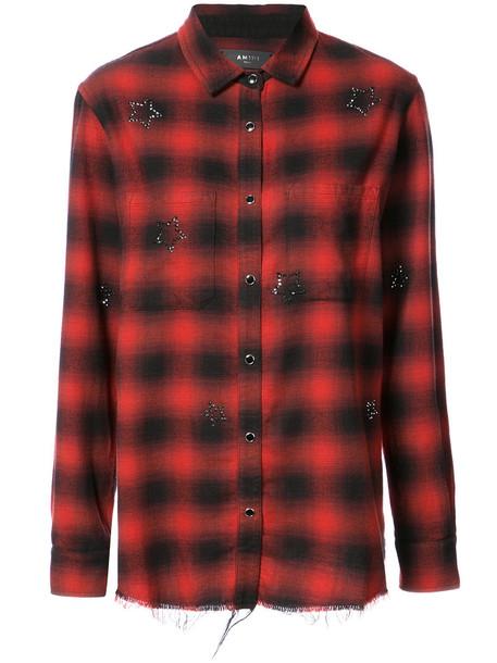 Amiri shirt checked shirt women cotton red top