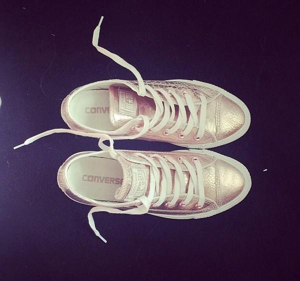 shoes converse pink metallic
