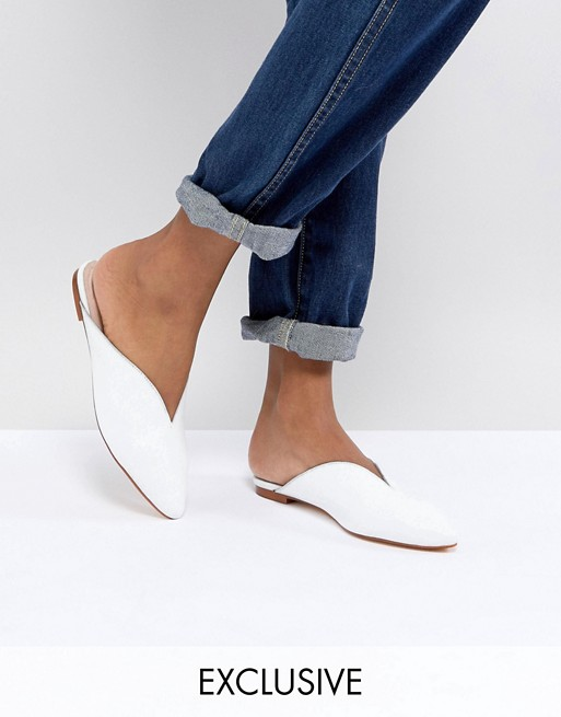 Office Farah White Leather Slip On Flat Mules at asos.com