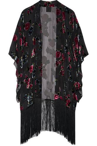 kimono chiffon floral print black top