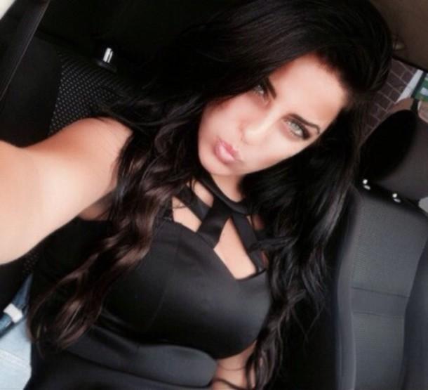 blouse black blouse black top pelpum top hot cute outfits ootd