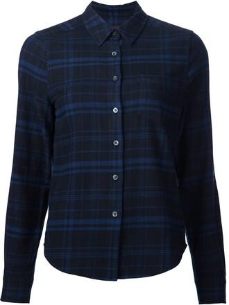 shirt plaid shirt plaid women cotton blue top