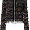 Givenchy - ruched mesh zipped jacket - women - polyamide/spandex/elastane/viscose - 38, black, polyamide/spandex/elastane/viscose