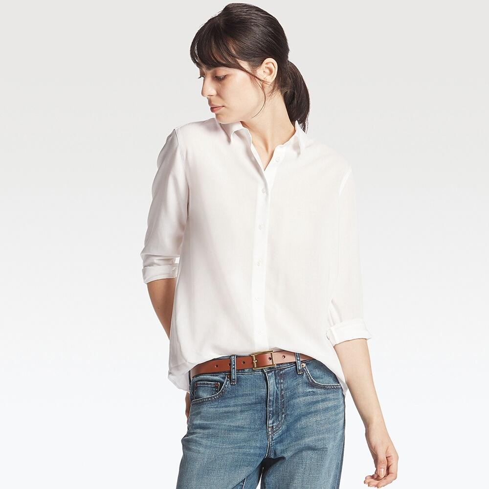 71353aa904 WOMEN Rayon Long Sleeve Blouse | UNIQLO