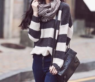sweater striped sweater grey sweater white sweater scarf