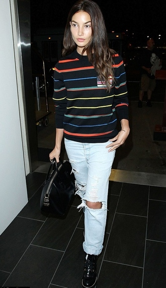 sweater fall outfits lily aldridge stripes