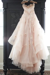 dress,pink,bride dresses,fairy tale,pink dress,formal,long,gown,beauiful,vintage,tulle dress,prom dress,beige dress,flowers,peach pink,roses,long prom dress,prom,lace,cute,beautiful