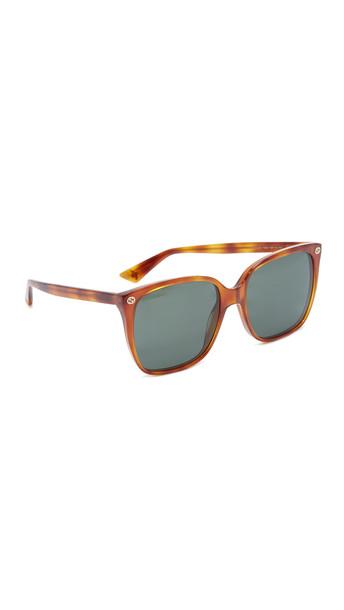 Gucci Lightness Square Sunglasses - Blonde Havana/Green
