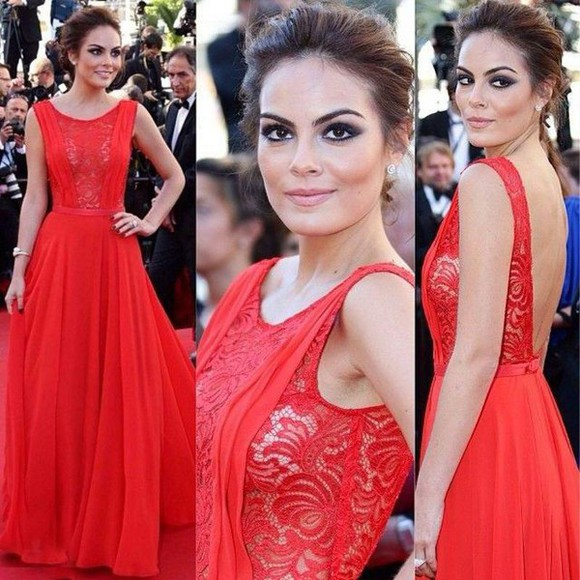 red dress lace dress long dress chiffon dress evening dress backless dress celebrity dress red carpet dress red carpet dresses