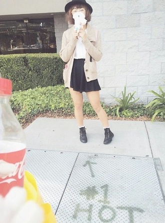 cardigan tan cute knit cream pockets