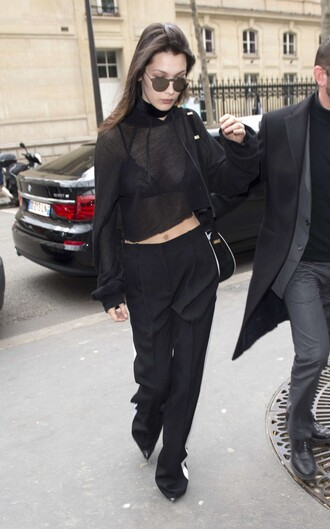 underwear bra all black everything streetstyle fashion week 2016 paris fashion week 2016 model off-duty blouse pants bralette lace bra