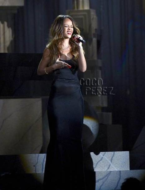 Dress Black Long Rihanna Vmas