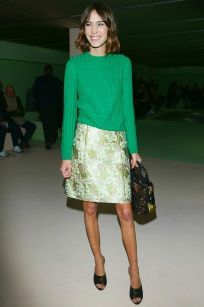 sweater skirt alexa chung fashion fashion week 2015