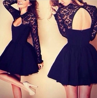dress prom dress little black dress cut-out dress lace top dress fancy dress formal black dress