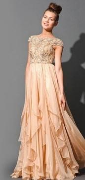 dress,prom dress,long prom dress,nude,neutral,tan sequins prom dress beading