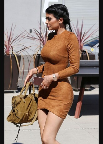 dress kylie jenner kylie dress tan brown dress bodycon dress