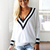 White Sweater - White Black Trimmed Sweater | UsTrendy