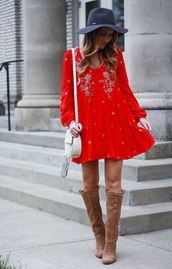 twenties girl style,blogger,dress,shoes,bag,red dress,mini dress,shoulder bag,knee high boots,suede boots,floral dress,long sleeve dress