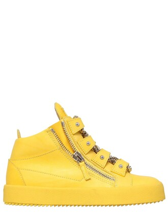 sneakers leather yellow shoes