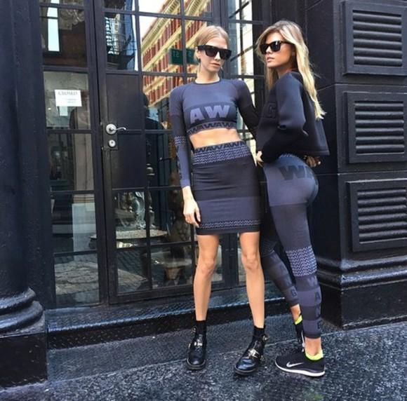 alexander wang wang leggings crop tops skirt
