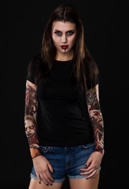 t-shirt girly black black top black t-shirt tattoo fake tattoos halloween