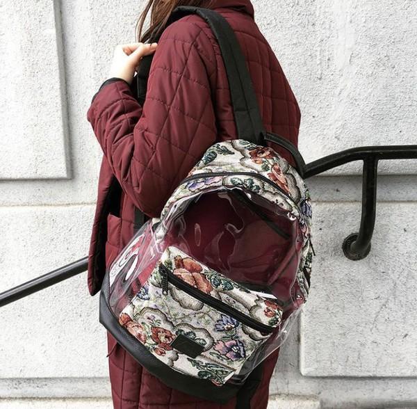 bag backpack urbanbag urbanrucksack stylishbackpack stylishbag stylishrucksack printedbag printedrucksack floralbag floralprintbag floralprintbackpack floral flowerbag flowerbackpack floral backpack backpack leather transparent  bag rucksack urbanbackpack