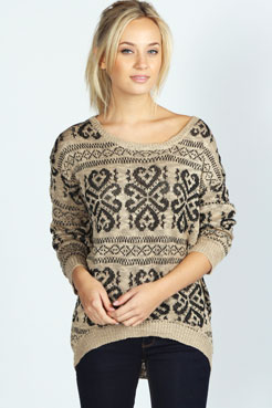 Casse Dip Hem Patterned Jumper at boohoo.com