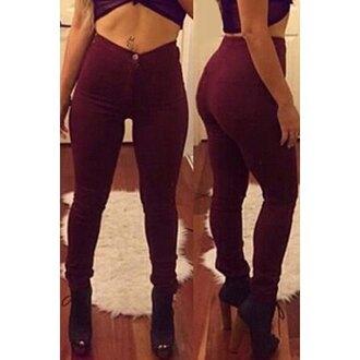 jeans burgundy denim high waisted jeans streetwear rose wholesale crop tops trendy skinny jeans instagram selfie high waisted pants