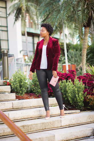 pinksole blogger jewels tank top jacket jeans shoes bag fall outfits velvet jacket pumps clutch