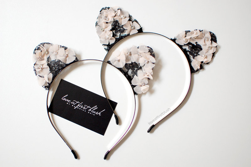 Floral cat ears headband with black lace