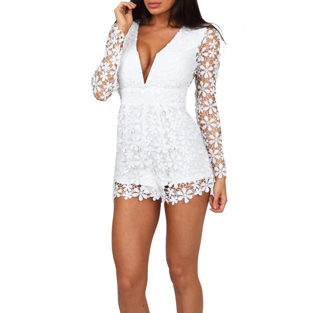 Deep v plunge lace flower jumpsuit