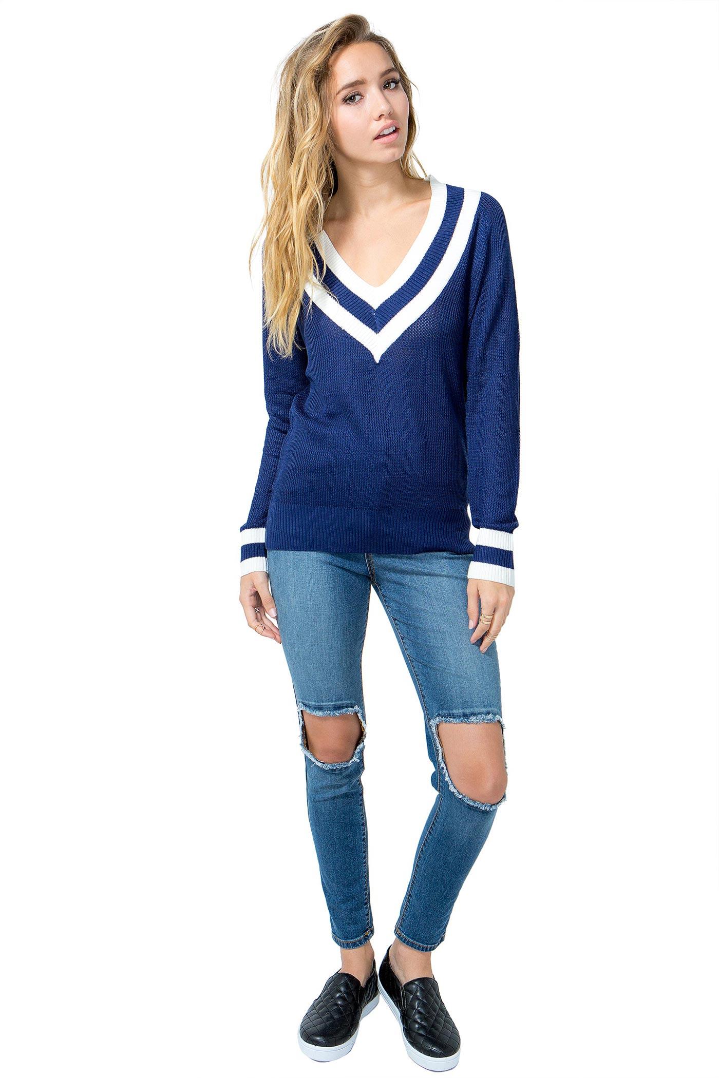 Women's Sweaters | Sharp Contrast Sweater | A'GACI