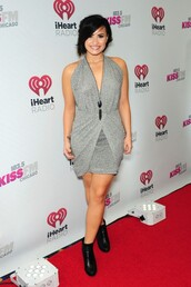 dress,demi lovato,necklace,boots,grey,jewels,shoes,pants,top,pink,crop tops,rita ora,two-piece