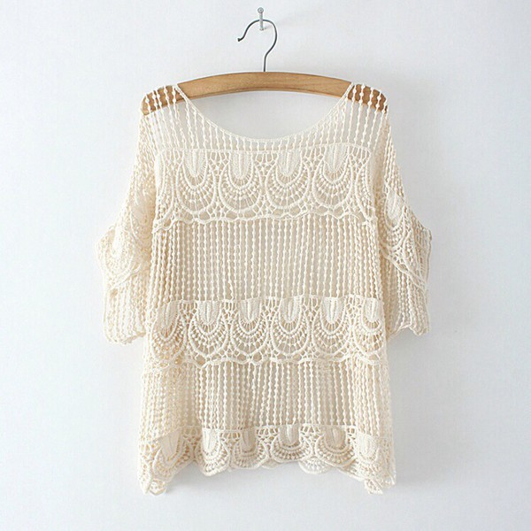 top boho boho chic indie crochet cream t-shirt shirt cute summer outfits