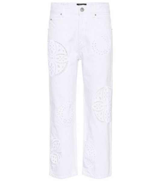 Isabel Marant Ronny broderie anglaise jeans in white