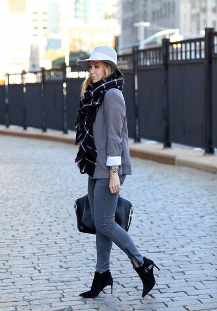 brooklyn blonde blogger jacket jeans scarf t-shirt bag flannel scarf