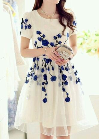 dress white dress blue flowers classy dress flowers flowerdress