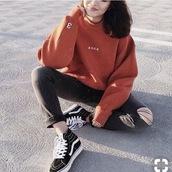 sweater,hoodie,ader sweatshirt,brown red ader hoodie,ader,sweatshirt