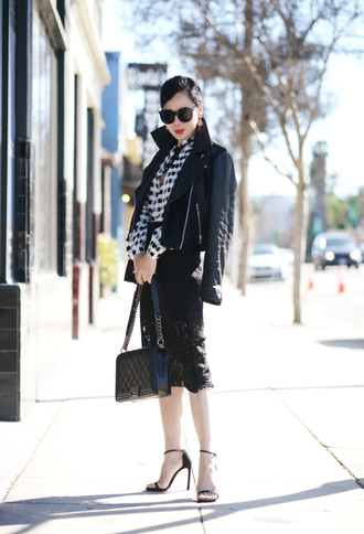 hallie daily blogger lace skirt gingham black jacket jacket skirt shirt shoes bag sunglasses jewels
