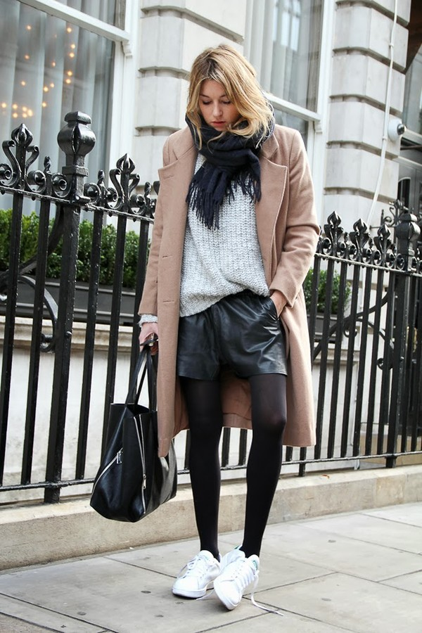 camille over the rainbow coat sweater shorts scarf shoes bag