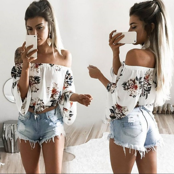 top white white top off the shoulder top off the shoulder floral white floral top