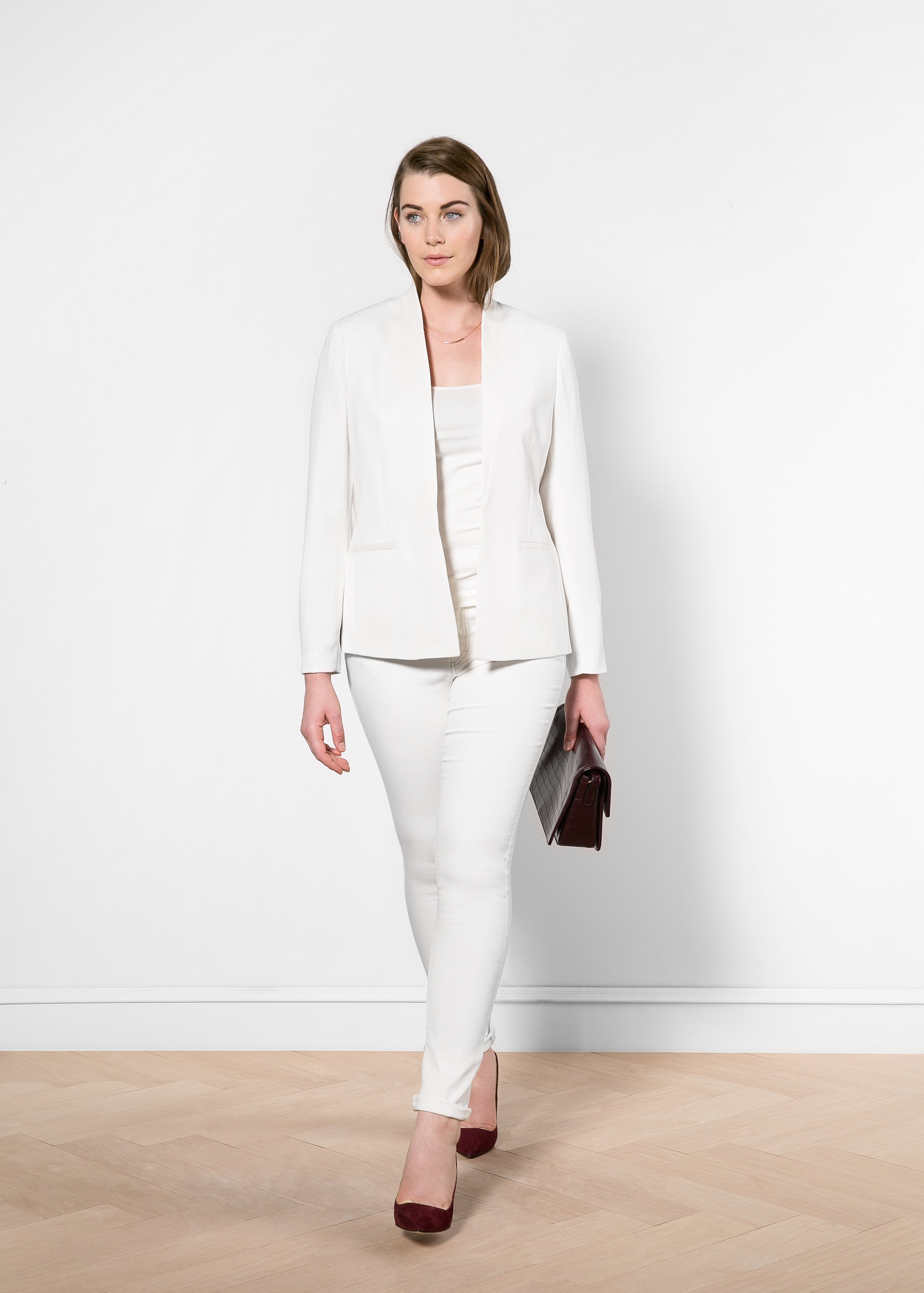 Satin collar crepe blazer - Women | MANGO