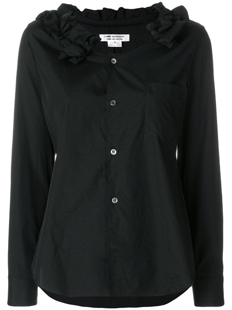 blouse ruffle women cotton black top
