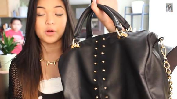 chain bag forever 21 shoulder bag black and gold bag studs forever 21 bag gold studs