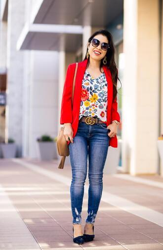 cute & little blogger dress top skirt jewels shoes bag gucci belt pumps shoulder bag floral top spring outfits jacket