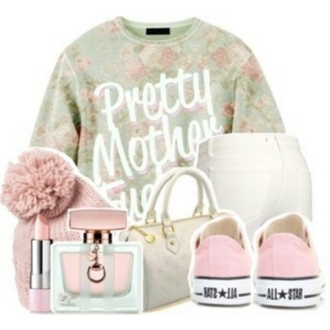 sweater pastel converse beenie pink green mint pants perfume purse lipstick white floral