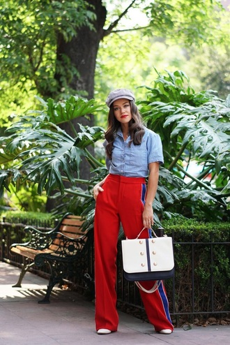bag briefcase red pants blue shirt side stripe pants handbag pants wide-leg pants shirt hat